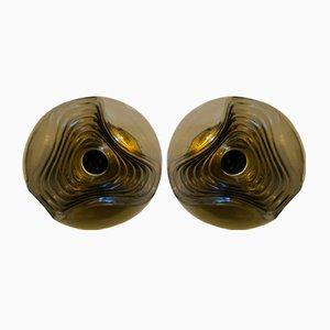 Große Wave Wandlampen von Koch & Lowy für Peill & Putzler, 1970er, 2er Set