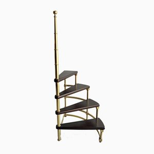 Brass and Leather Spiral Library Step Ladder, 1960s