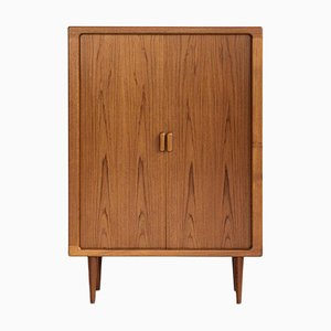 Mid-Century Danish High Cabinet with Tambour Doors from Dyrlund, 1960s