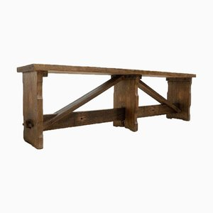 Antique Vintage Rustic Oak Bench
