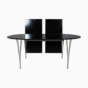 Model Super Ellipse Dining Table with 2 Extensions by Piet Hein & Bruno Mathsson for Fritz Hansen