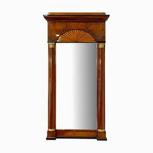 Biedermeier Mirror in Walnut & Maple, South Germany, 1820s