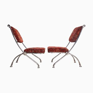 Folding Chair with Footstool, Set of 2