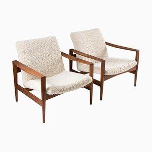 Mid-Century Danish Sheepskin Lounge Chairs by Niels Kofoed for Niels Eilersen, Set of 2
