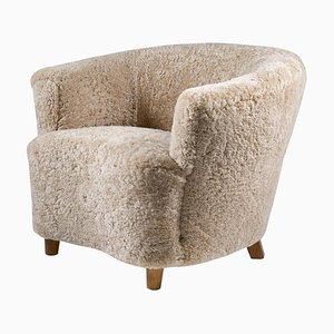 Mid-Century Scandinavian Lounge Chair in Sheepskin by Otto Schulz