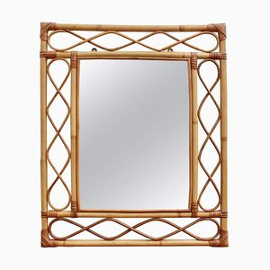 Rectangular French Rattan Wall Mirror, 1960s