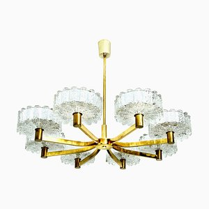 Brass Chandelier with 8 Glass Shades in the style of Kalmar, 1960s