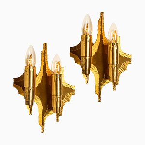 Mid-Century Brass Wall Sconces, 1970s, Set of 2