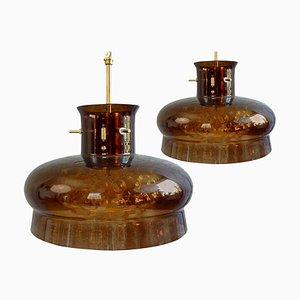 Brown Bubble Glass Pendant Lights by Carl Fagerlund for Orrefors, Set of 2