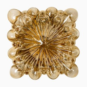 Square Amber Bubble Flush Mount by Helena Tynell for Limburg, 1960s