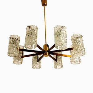 Mid-Century Brass and Blown Glass Chandelier from Hillebrand, 1960s