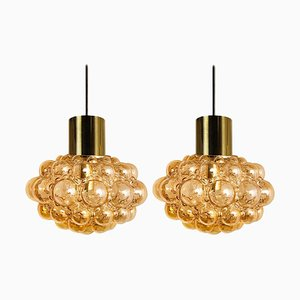 Amber Bubble Glass Pendant Lamp by Helena Tynell for Limburg, 1960s