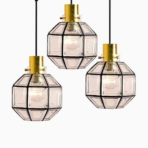 Iron and Clear Glass Light Pendant from Limburg, 1965