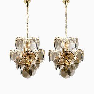 Smoked Glass and Brass Chandeliers in the style of Vistosi, Italy, 1970s, Set of 2