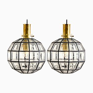 Large Iron and Clear Glass Light Fixtures from Limburg, 1965, Set of 2