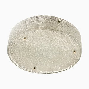 Large Thick Textured Glass Flush Mount from Kaiser, 1960s