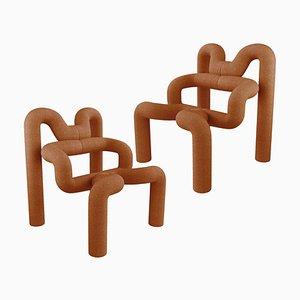 Burned Orange Armchairs from Terje Ekstrom, Norway, 1980s, Set of 2