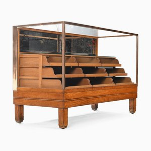 English Brass Blouse Cabinet with 9 Wooden Drawers