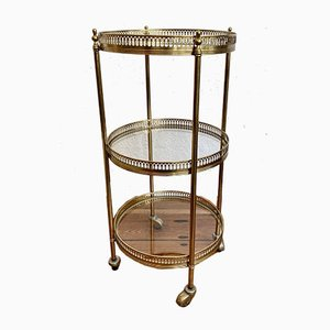 Round Neoclassical Brass Bar Trolley with Glass Trays on Wheels