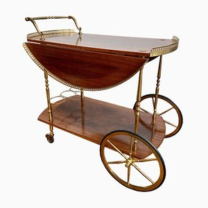 Italian Brass Bar Trolley with Fold-Out Lacquered Wooden Tray