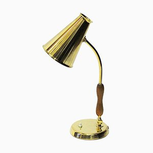 Oak and Brass Table Lamp from Asea, Sweden, 1950s