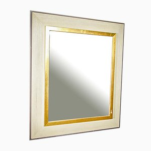 Vintage Gold & White Mirror with Trim, 1960s