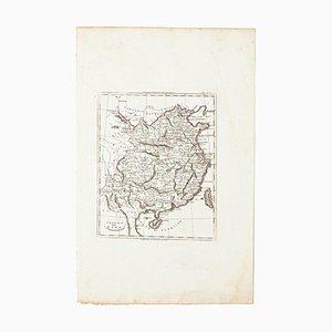 Map of China, Original Etching, 19th Century