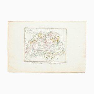Karte der Schweiz, Original Radierung, 19. Jahrhundert