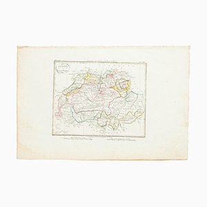 Map of Switzerland, Original Etching, 19th Century