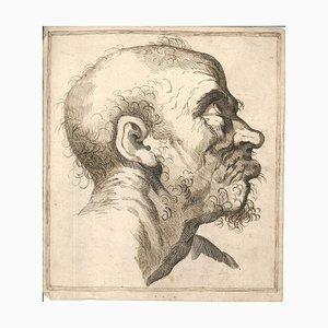 Dibujo Grimace, tinta china original y acuarela, siglo XVIII