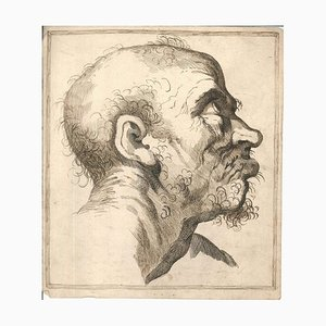 Grimace, Original China Ink and Watercolor Drawing, 18th Century