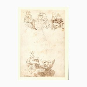Virgin on a Winged Cart, Original Ink and Watercolor, 18th Century