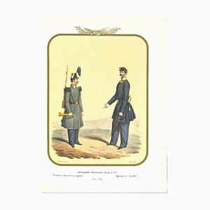 Antonio Zezon, First Royal Guard Shooter Battalion, Original Lithograph, 1856
