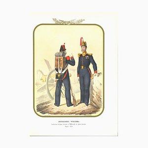 Antonio Zezon, Swiss Artillery, Original Lithograph, 1854