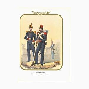 Antonio Zezon, Artillery, Original Lithograph, 1853
