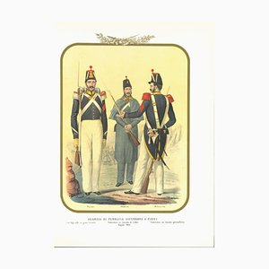 Antonio Zezon, Public Security Guard, Original Lithograph, 1852