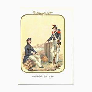 Antonio Zezon, Battalion Zappatori and Pioneri, Original Lithograph, 1853