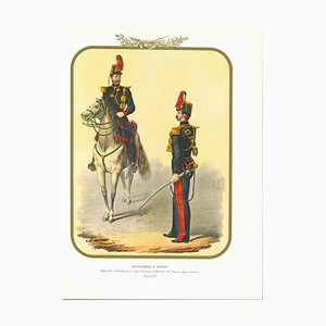 Antonio Zezon, Artillery and Train, Original Lithograph, 1853