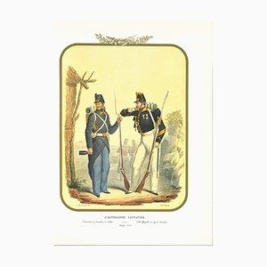 Antonio Zezon, VI Hunter Battalion Simple Product, Original Lithograph, 1853