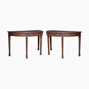 Adam Revival Mahogany Hall Tables, Set of 2