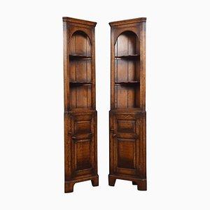 Narrow Oak Floor Standing Corner Cupboards, Set of 2
