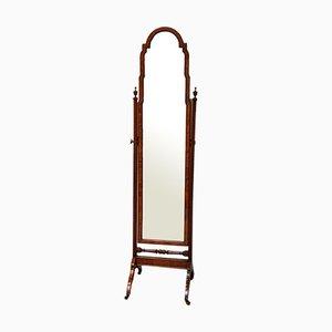Queen Anne Style Cheval Walnut Mirror
