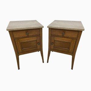 Antique French Marble & Oak Bedside Tables, Set of 2