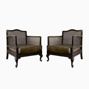Antique Chippendale Cane Leather Armchairs, Set of 2