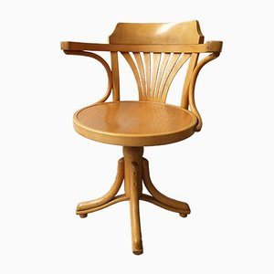 Mid-Century Wood Swivel Desk Chair in the Style of Thonet
