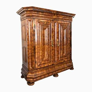 Baroque Wave Cabinet or Hall Cabinet in Walnut Veneer from a Hunting Lodge, Nuremberg, 1770s