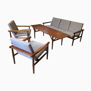 Reupholstered Teak Sofa, 2 Chairs & Table Set from Glostrup Møbelfabrik, Denmark, 1950s, Set of 4