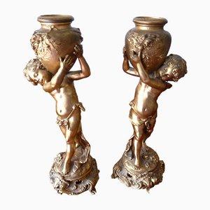 Late 19th Century Gilt Spelter Putti Sculptures After Louis Auguste Moreau