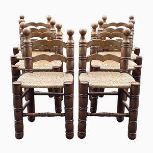 Charles Dudouyt Stühle mit Strohbeinen, Frankreich, 8er Set