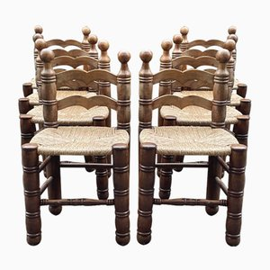 Charles Dudouyt Style Straw-Bottomed Chairs, France, Set of 8